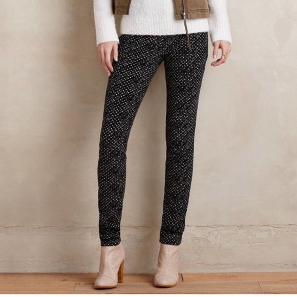 Anthropologie Pants - PILCRO | sz 27 black patterned Serif cords